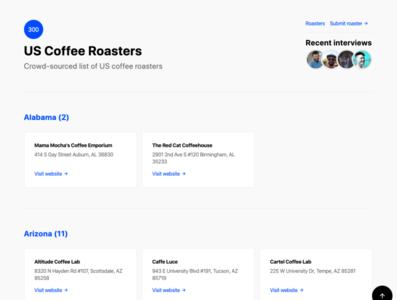 US Coffee Roasters header design blog website coffee