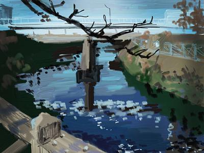 river adobe fresco painting drawing illustration
