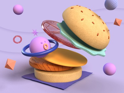 wind universe hamburger purple design 3d illustration