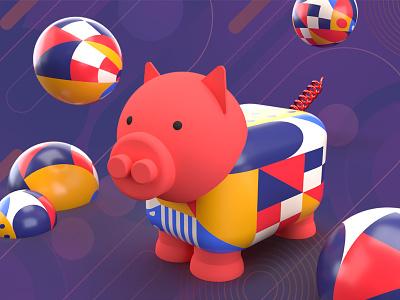 pig purple red pig animal design illustration 3d
