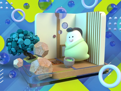 Hakoniwa green bubble photoshop dimension blue design 3d illustration
