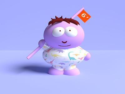 Love Social Distance covid cartman purple design 3d illustration