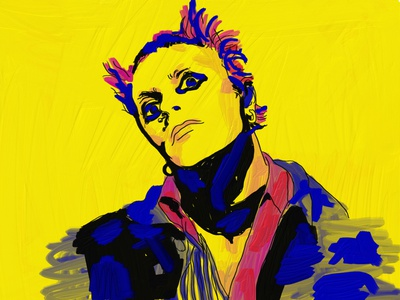 Keith Flint oil painting adobe fresco the prodigy illustration drawing