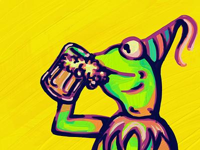 Beer kermit yellow beer drawing oil painting illustration adobe fresco