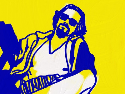 DUDE yellow drawing oil painting adobe fresco illustration