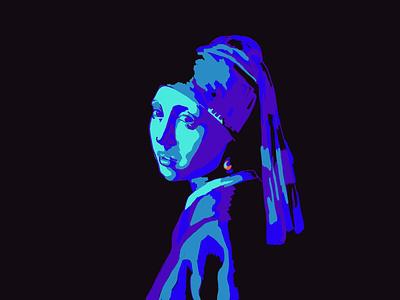 Girl with a Pearl Earring dark blue design adobe fresco illustration