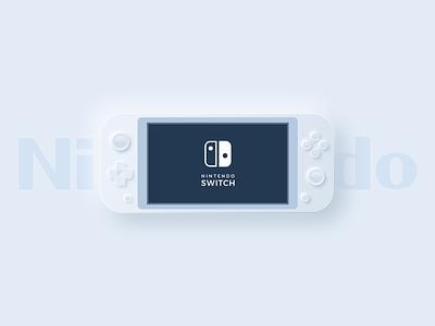 Neumorphic Nintendo Switch Lite photoshop 3d model mario freebie interface white ui trend design clean design 2020 trend geek gaming game nintendoswitch nintendo neumorphism neumorphic