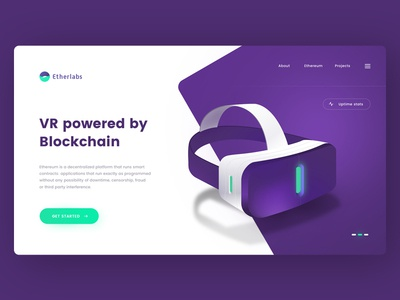 Blockchain powered VR vector landing onepage crypto bitcoin ethereum tech google vr illustration