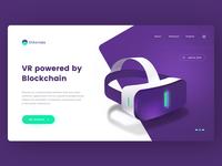 Blockchain powered VR vector landing onepage crypto bitcoin ethereum tech google vr illustration