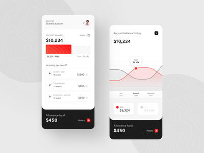 Shared bank account - mobile app ios figure chart visualisation data banking account finances personal management money ui mobile finance app fintech