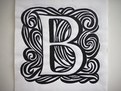 Initial letter sketch for typejournal.ru lettering initial drawing black marker dropcap uppercase swash marker