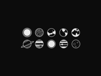 Minimal planet icons planet icons simple minimal solar system sun mars earth moon space dark