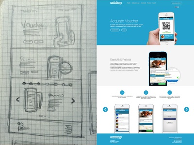 From sketch to code - Landing page scketch landing code coding page website design web slider hero flat process