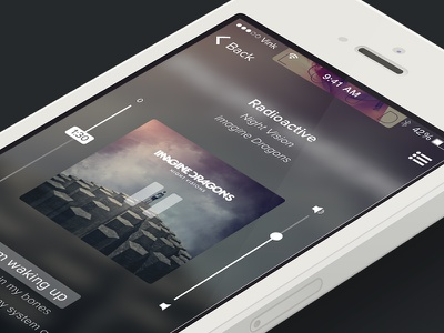 Music UI - Vertical player icon ui design mobile iphone music app vertical background sketch lyrics playlist
