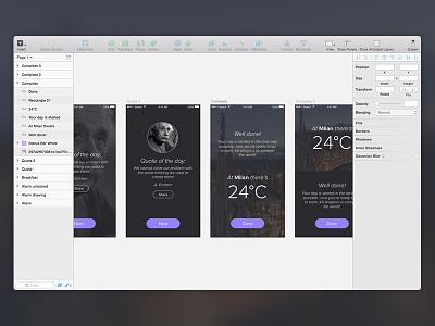 Alarm App WIP alarm ui design ux ios iphone clock quote weater icon dark morning