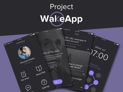 WakeApp - Project minimal app users dashboard icon quotes rss feed alarm design ux ui