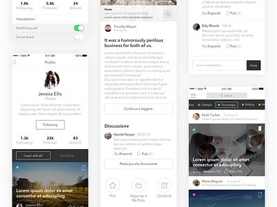 UI Mobile - News posting app minimal read category update users articles news ios app mobile ui