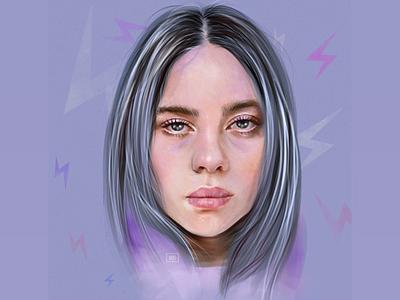 Billie Eilish procreate digital art portrait illustration m billie eilish