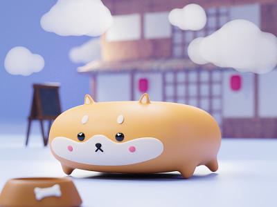 wide shiba inu ^__^ cute character 3d art blender3d illustration dog japan kawaii dogecoin wide doge shiba inu