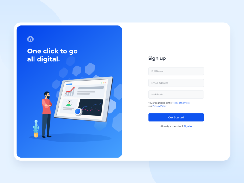Signup - Onboarding accounts app onboarding shadows mockup business profile brand getstarted graph design dashboard plant illustraion signup signin uiux