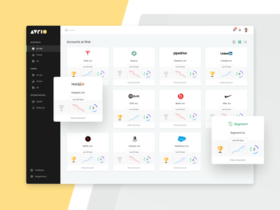 Accounts Dashboard company profile stats statistics webapp webdesign reboot upsell user icons grids list view filter piechart trophies graphs accounts cards ux  ui ui dashboad