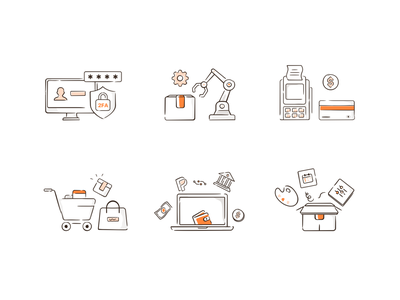 Line illistrations- Icons design drawing art atm 2fa password dollar wallet shopping cart shopping editing payment app attributes product mono shades lineart illustration art ui laptop