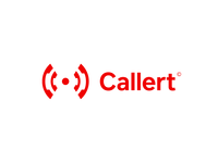 Callert emergency life saver signal sign brand design naming connection help first aid localization area place red alert call phone branding typography logo