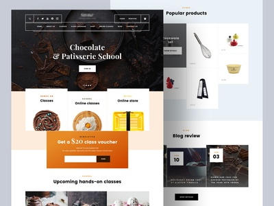 Chocolate WIP onepage patisserie bakery school landing page chocolate