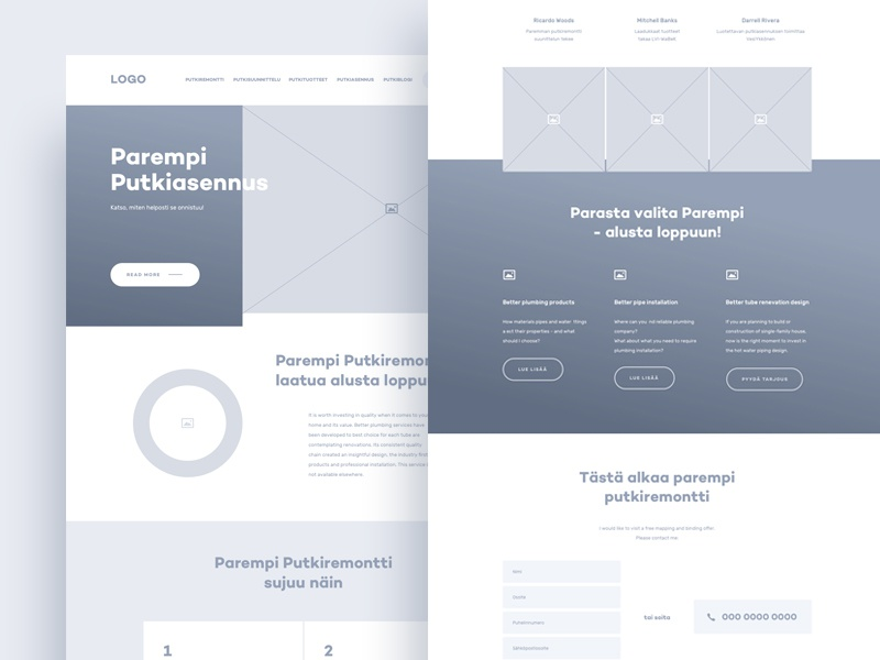 Plumbing renovation wireframe clean mockup simple ui layout minimal ux flat home plumbing landing page wireframe