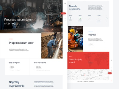 Progress poland white red factory clean flat onepage sanitary pipes engineering