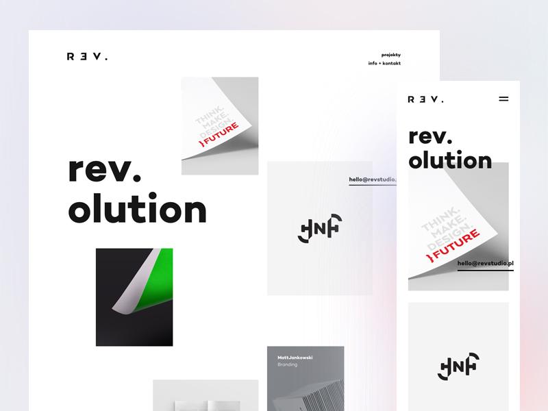 Rev. 🎉 web landing branding mobile grid white work ui studio minimal portfolio