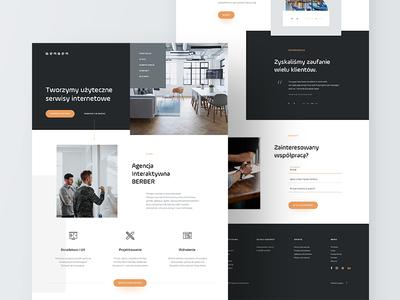 BERBER Homepage ui orange black homepage website studio agency