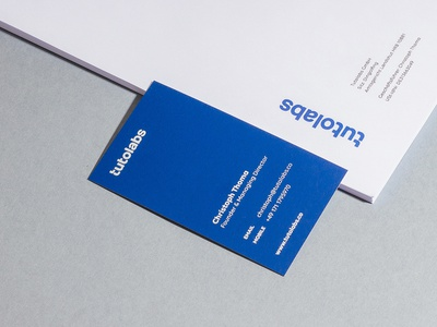 Tutolabs Identity stationery letterhead business cards design print blue typography logotype branding identity