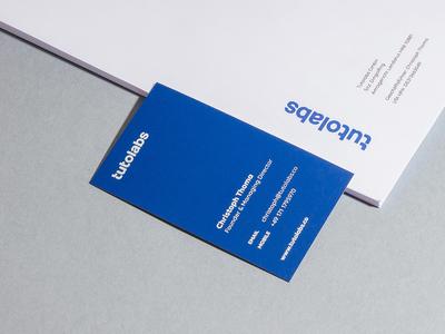 Tutolabs Identity stationery letterhead business cards design print blue typography logotype branding identity
