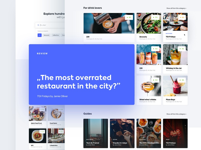 The Food Detective restaurant service dishes review blue food and drink detective design typography ux ui