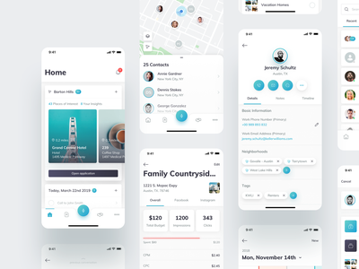 KW Command Mobile Part 2 white teal blue artificial intelligence android ios react native typography minimal ui mobile collection calendar campaigns contacts map agent voice assistant real estate home