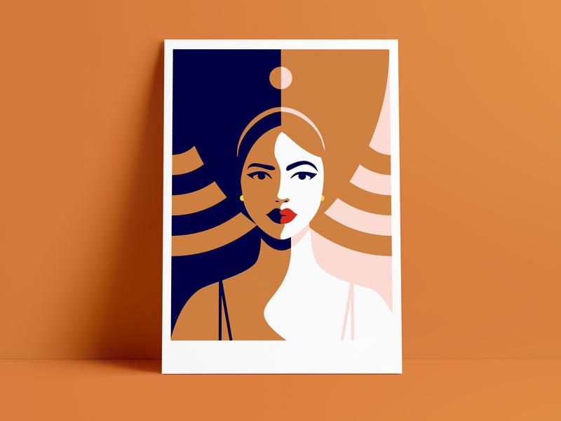Between light and shadow shadow light woman colors graphicdesign flatdesign flat illustration adobe illustrator adobe illustration art artwork art illustration illustrator
