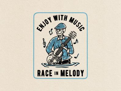 Race In Melody artwork tshirtdesign clothing design vintage vintage design illustration graphic design distressedunrest badge design apparel design