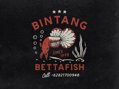 BINTANG BETAFISH logo branding outdoor badge clothing design tshirtdesign vintage illustration vintage design distressedunrest graphic design badge design