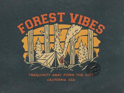 FOREST VIBES branding artwork clothing design tshirtdesign vintage apparel design vintage design illustration graphic design badge design