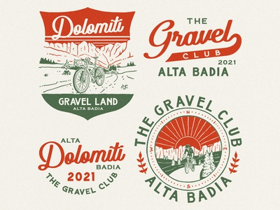 THE GRAVEL CLUB ON DOLOMITI artwork outdoor badge branding logo vintage apparel design badge design vintage design illustration graphic design