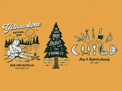 Bug and Buffalo Design Collection outdoors outdoor apparel branding artwork tshirtdesign badge design distressedunrest vintage design apparel design illustration graphic design