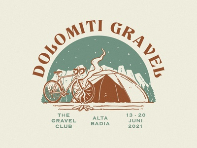 DOLOMITI GRAVEL logo artwork apparel design tshirtdesign branding vintage badge design vintage design illustration graphic design