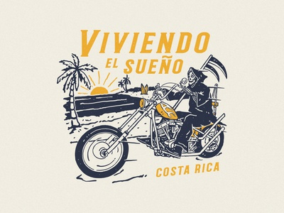 Viviendo El Sueño tshirtdesign surfapparel distressedunrest vintage branding apparel design badge design vintage design illustration graphic design