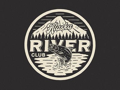 Alaska River Club branding clothing design outdoor badge tshirtdesign badge design apparel design vintage illustration vintage design graphic design