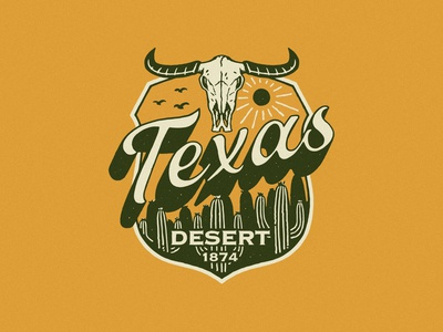 TEXAS 1874 artwork branding apparel design vintage tshirtdesign distressedunrest badge design vintage design illustration graphic design