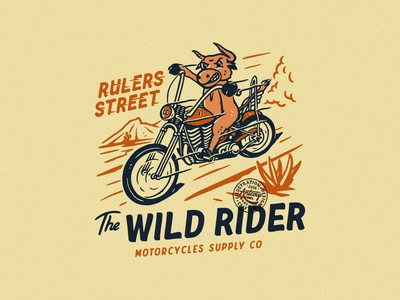 THE WILD RIDER branding clothing design tshirtdesign distressedunrest vintage apparel design badge design vintage design illustration graphic design