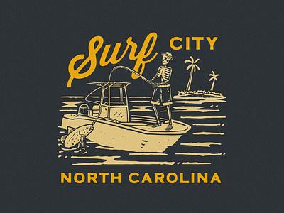 SURF CITY outdoor badge artwork branding tshirtdesign apparel design vintage badge design vintage design illustration graphic design