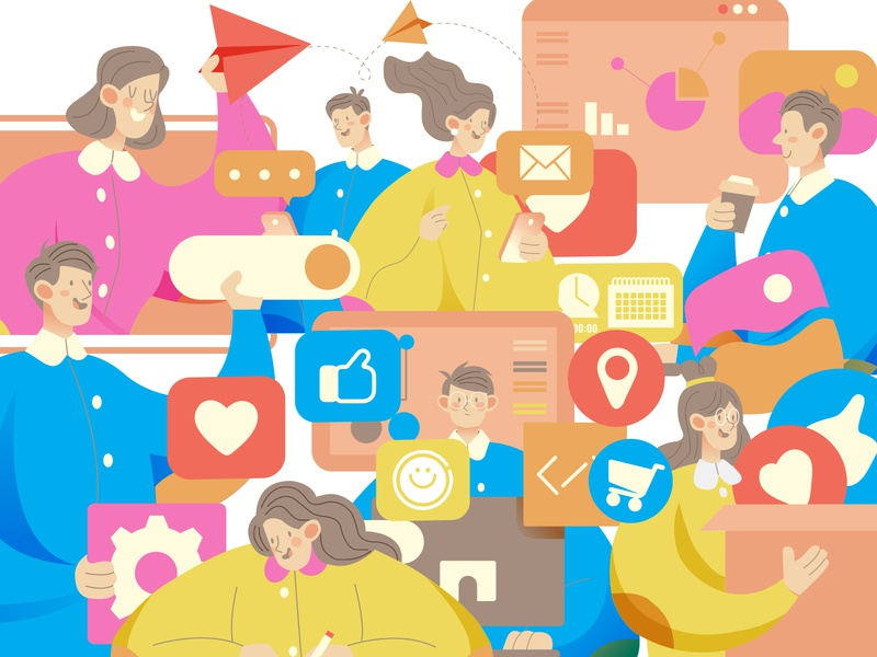 social media illustrations bubble head banner app advertising animation online shopping design vector flat illustration