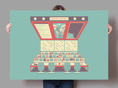 Mission Control Poster graphic space poster design illustration vintage retro universe cosmos screen print